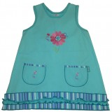 Turquoise Blooming Nice Stripe Pinafore Girls 9-10 years