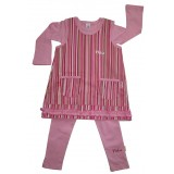 Pink Stripe Pinafore Suite Girls 5-6 years