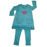 Turquoise Blooming Nice Pinafore Suite Girls 5-6 years