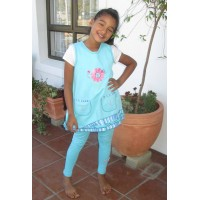 Turquoise Blooming Nice Stripe Pinafore suite